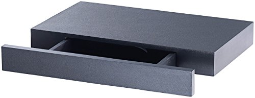 Carlo Milano Regal mit Geheimfach: Wandregal mit versteckter Schublade, 40 x 5 x 25 cm, schwarz (Wandregal mit Geheimfach)
