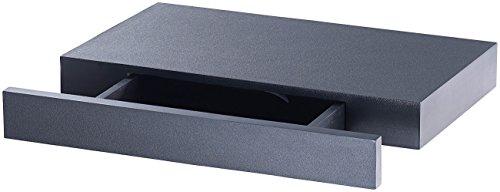 Carlo Milano Wandregal mit Geheimfach: Wandregal mit versteckter Schublade, 40 x 5 x 25 cm, schwarz (Regal mit Geheimfach)
