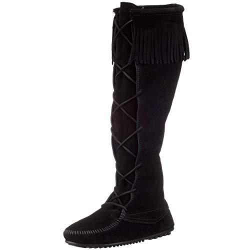 Minnetonka Women's Front Lace Knee High Boots 9 M Black
