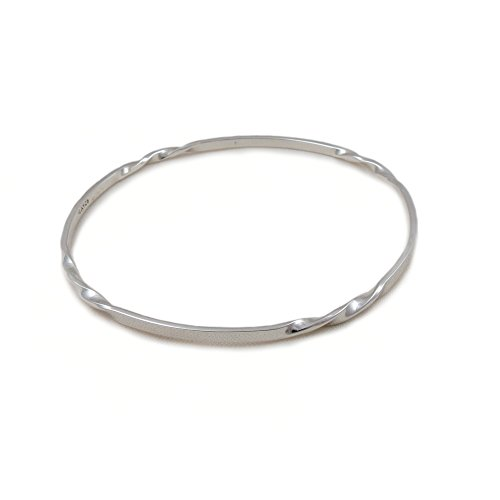 Solid 925 Sterling Silver Twist Circle Bangle Gift Boxed