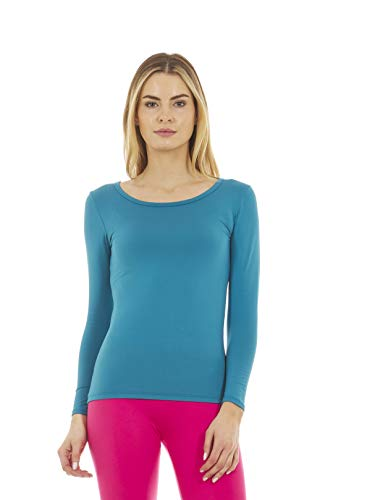 Thermajane Women's Ultra Soft Scoop Neck Thermal Underwear Shirt Long Johns Top with Fleece Lined (Teal, M)