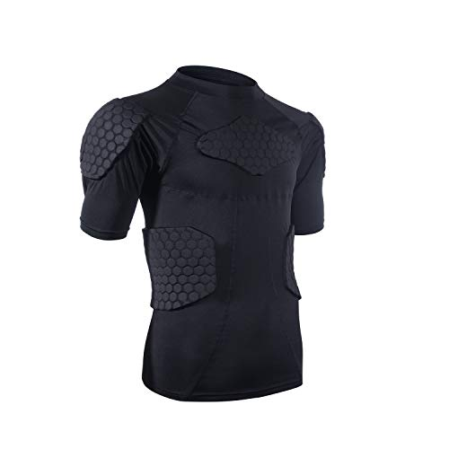 Men's Sports Shock Rash Guard Compression Padded Shirt Soccer Basketball Protective Gear Chest Rib Guards (Large)