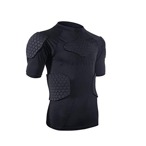 Men's Sports Shock Rash Guard Compression Padded Shirt...