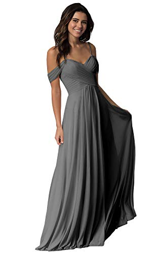 Women's Pleated A Line Off The Shoulder Long Chiffon Prom Bridesmaid Dress Wedding Party Dress Grey Size 10