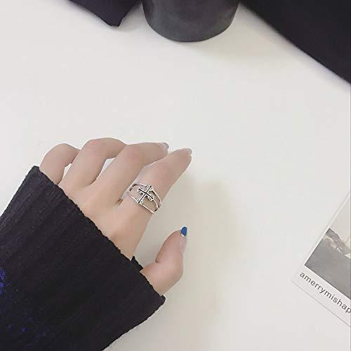 DLIAAN Ringen Zilver Opening Retro Ring Vrouwelijke Eenvoudige Trend Overdreven Cross Vijfpuntige Ster Driehoek Shield Punk Persoonlijkheid 3 Stijl Mannelijke En Vrouwelijke Index Vinger Ring