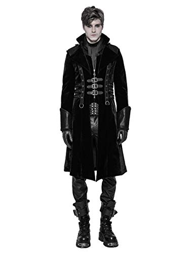 Punk Rave Gothic Herren Black Thick Medium Style Mantel Steampunk Long Vintage Coat Jacket 2XL