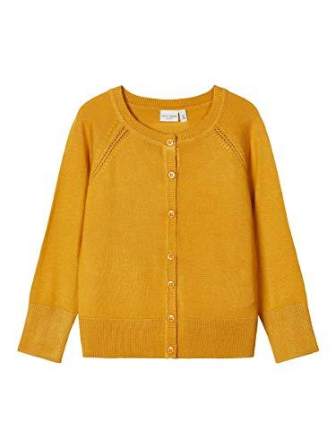 Name It Nmfvioni LS Knit Card H Maglione Cardigan, Oro Ambrato, 92 Bambina