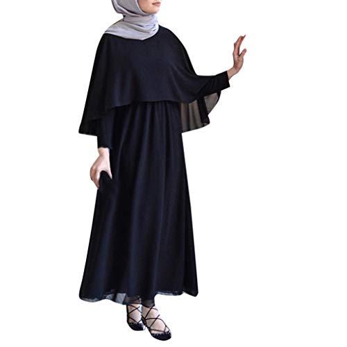Lazzboy Vintage Women Abaya Long Maxi DRE Arab Jilbab Muslim Robe Islamic Kaftan Muslim Kleider, Damen Lange Arabische Muslimische Islamischer Dubai Kleidung(Schwarz,M)