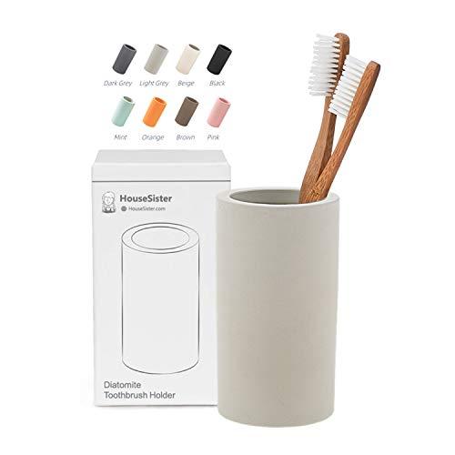 HouseSister Organic Diatomite Toothbrush Toothpaste Makeup Brushes Razors Holder Grey Bathroom Countertop Organizer Stand Cup Organizer (Light Grey)