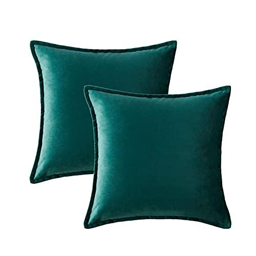 Hansleep Funda Cojín 45x45cm Verde, Juego de 2 Fundas Cojines de Terciopelo Turquesa Decorativa para Sofá Cama & Dormitorio...