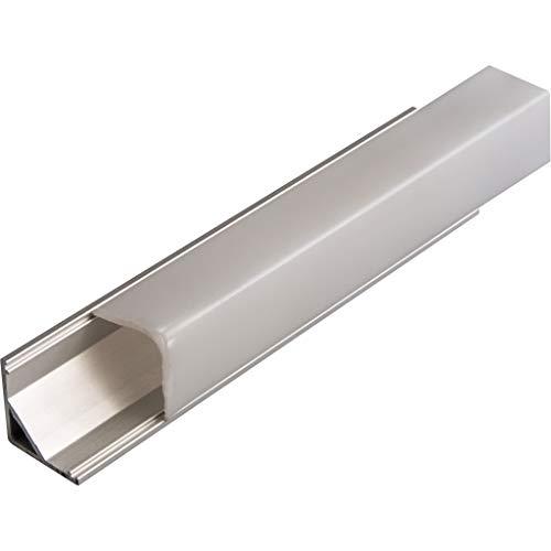 KIT de 4 x 1 mètre P8 Profilé en aluminium ARGENT pour les bandes LED avec couvercles satinés, bouchons et clips de fixation