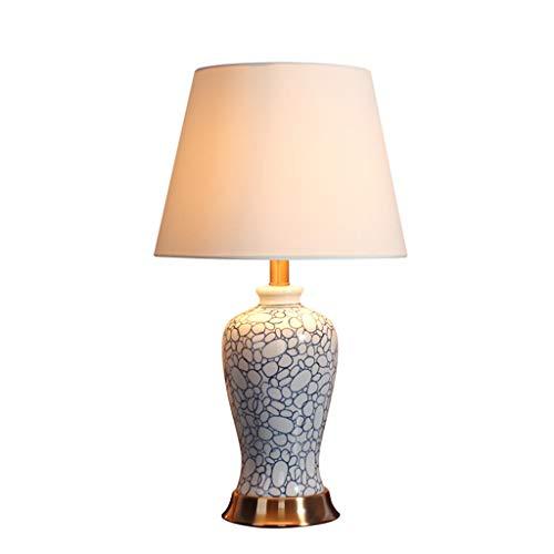Lampe de table Salon Décoration De Bureau Lampe En Céramique Chambre Lampes De Chevet Linge De Maison Moderne En Tissu Ombre De Style Américain Décoration