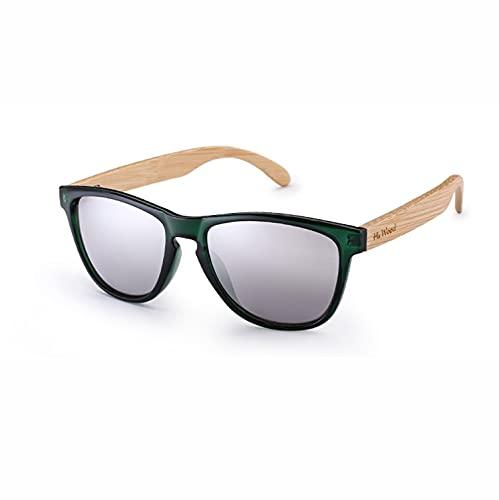 YuanRuiWMS Gafas de sol de bambú, lente de degradado marino, UV400 para conducción gafas de sol para hombre, marco de gafas de madera (color: 3)