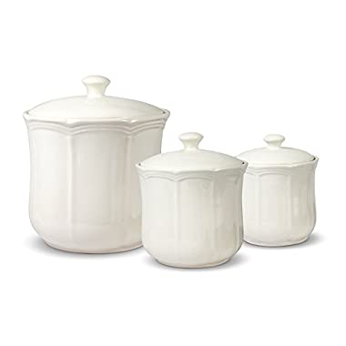 Mikasa French Countryside Canisters, Set of 3, White