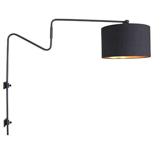 Wandleuchte Bogenlampe Schwarz Wohnzimmer Studio Loft Modern Steinhauer 2131ZW