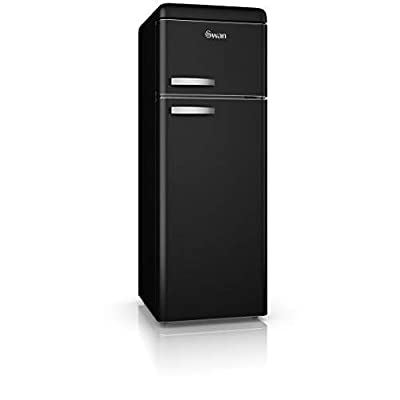 Swan SR11010BN, Freestanding Retro Top Mounted Fridge Freezer 70/30, A+ Rated, 208 Litres, Matt Black