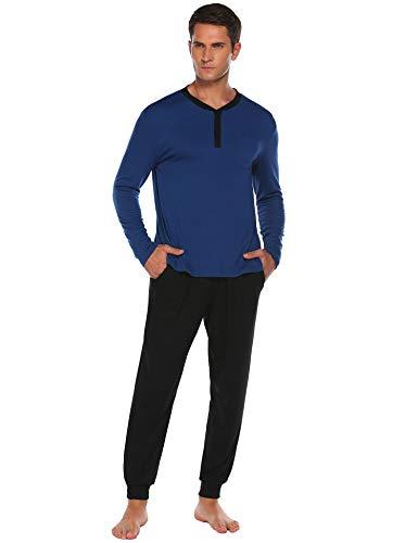 Schlafanzug Herren lang Zweiteiliger Pyjama Langarm Nachtwäsche Schlafhose Oberteile mit Taschen für Männer Herbst Winter Zuhause