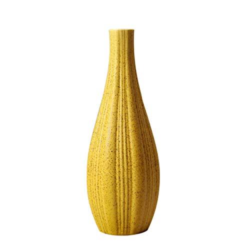 XuanMax Floreros de Cerámica Jarrón Decorativo Moderno Hecho a Mano Hogar Adornos de Decoración Ornamento para Sala Mesa Oficina - 7.5 * 21 cm - Amarillo