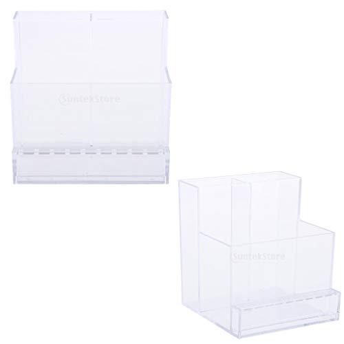 Fenteer 2pcs Boîte De Présentation De Support Foret De Clous de Machine Organiseur Manucure Boîte Affichage à ongles Support Foret en Acrylique