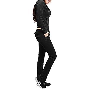 NE PEOPLE Womens Casual Basic Velour Zip Up Hoodie Sweatsuit Tracksuit Set S-3XL