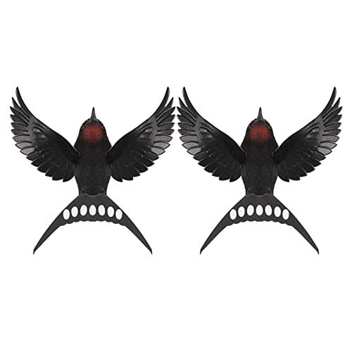 Angoily 2 Piezas de Madera Pájaros Golondrina Pared Arte Vintage Golondrina Pájaros Ornamentos para Jardín Escultura de Pared