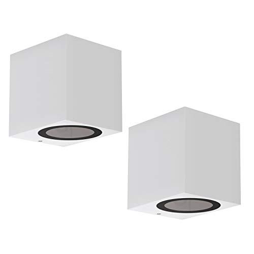 ledscom.de Lampada da parete ALSE Downlight da esterno, bianca, alluminio, angolare, GU10, 2 PZ