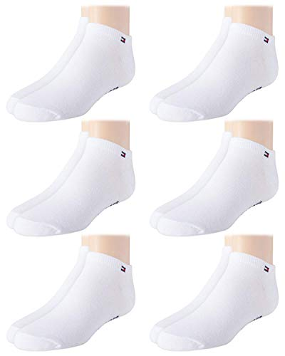 Tommy Hilfiger Big Kids Socks 6 Pack Ankle Sock Liners Unisex White, Medium, Shoe Size 3.5 to 7