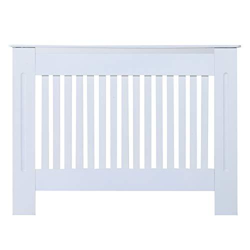 Homcom Cache-radiateur Design Panneau Cabinet 112L x 19l x 81H cm MDF Blanc