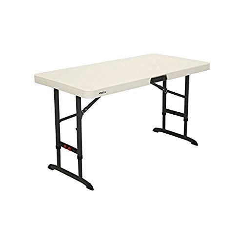 Lifetime 80387 4Foot Commercial Adjustable Folding Table Almond