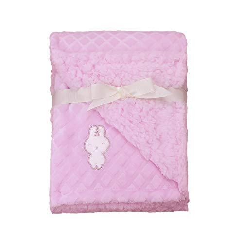 ZECHREY Baby Unisex Flannel Fleece Plush Blanket with Rabbit Applique Super Soft Warm Fluffy Blanket for Newborn Infant Toddler Kids, Pink