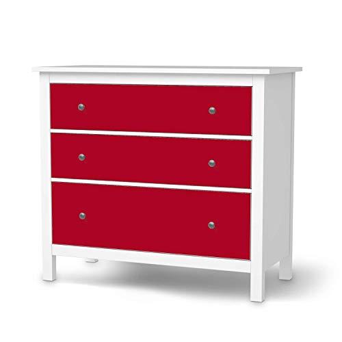 creatisto Möbel Klebefolie passend für IKEA Hemnes Kommode 3 Schubladen I Möbelsticker - Möbel-Aufkleber Folie Tattoo I Wohndeko für Wohnzimmer und Schlafzimmer - Design: Rot Dark
