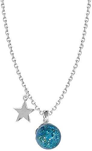 Yiffshunl Collar Moda Océano Arena Estrella Azul Bola de Cristal Estrella de Cristal Joyas Collar de Regalo de cumpleaños