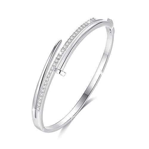 Bangle bracelet for women with cubic zirconia nail cuff jewelry by VICISION