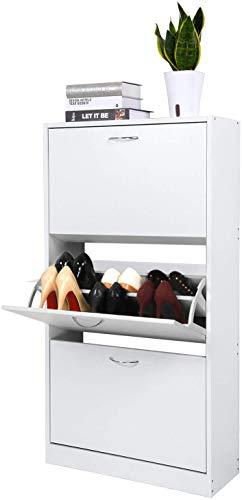 Meerveil Schuhkipper mit 3 Klappen, Verstellbarer Schuhschrank Schuhkommode 2 Schuhablagen 63 x 120 x 24 cm (Weiß)