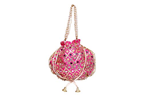 Tulika Collections Rajasthani Silk Traditional Mirror Work Clutch Potli Batwa Pouch Bag Handbag for Women/Girls (Pink))