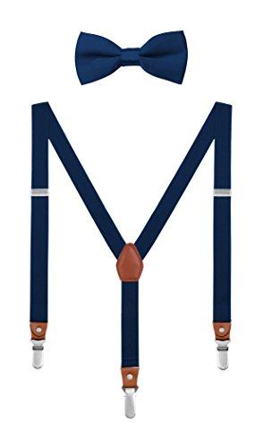 DEBAIJIA Scatola di Boutique Set Bretelle e Papillon per 1-8 Anni Bambino Y Forma 3 Clip 2.5 cm Larghezza Elastiche Regolabili Elegante Blu navy