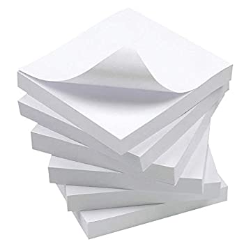 White Sticky Notes 6 Pads 3 X 3 Inch 100 Sheets/Pad Self-Stick Notes Pads Easy Post Notes for Office School Home  White