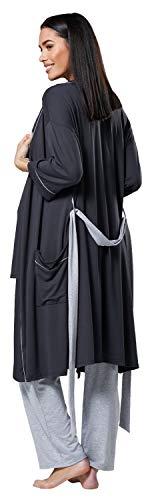 HAPPY MAMA Femme Maternité Ensemble Pyjama/Pantalon/Haut/Robe Chambre 558p (Graphite & Gris Mélange, 36, S)