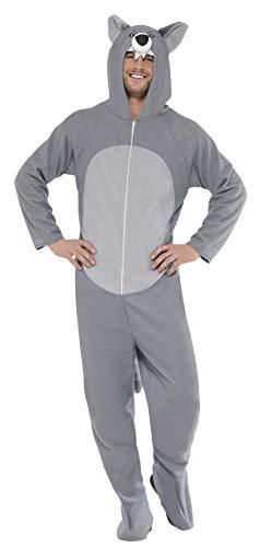 Smiffys, Unisex Wolf Kostüm, All-in-One mit Kapuze, Größe: M, 27858