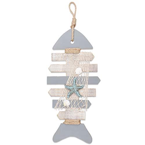 YiYa 40 CM Esqueleto de Pescado de decoración de Madera con Estrellas de mar y Conchas para decoración náutica, decoración de Pared Adorno Colgante de Puerta Tema de Playa Decoración del hogar.
