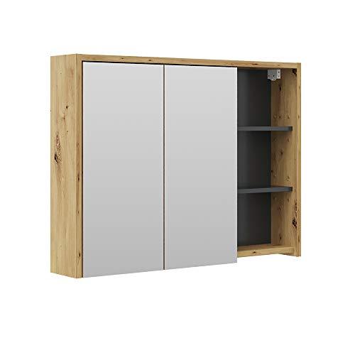 Vicco Spiegelschrank Viola Badschrank Badspiegel 2 Türen mit Ablagen Badmöbel (Anthrazit-Eiche)