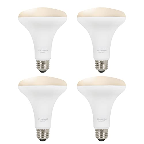 SYLVANIA Smart+ Wi-Fi Soft White Dimmable BR30 LED Light Bulb, CRI 90+, 65W Equivalent, Compatible with Alexa and Google Assistant, 4 Pack