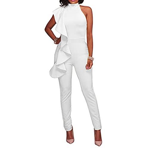 Engood Women's Sexy Ruffle Strapless High Waist Clubwear Long Wide Leg Pants Jumpsuit Rompers White M