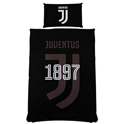 Juventus FC Set Copri Piumino Reversibile Singolo (Taglia Unica) (Nero)