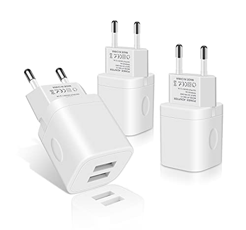 USB Ladegerät Stecker, 3-Pack 2.1A Netzstecker 2-Ports Netzteil Adapter Stromadapter für Samsung Galaxy S21 S20 S10 S9 S8 S7 S6, Huawei P50 P30 P20, Phone12/Xs/XR/X/8/7/6/6S Plus,Handy