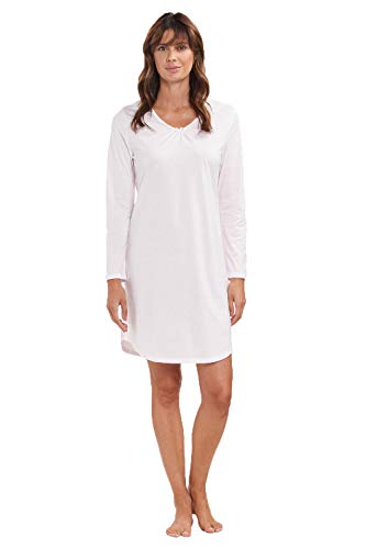 Rösch Damen Basic-Nachthemd Langarm Schlafshirt mit dezenter Spitze aus 100% Baumwolle und mit V-Ausschnitt aus der Serie SMART Casual, Gr. 36-50, Art-Nr. 1884157 42 Rosewater