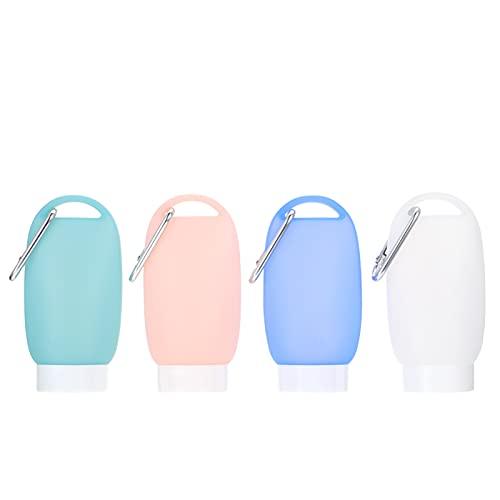 BESPORTBLE 4 Unidades de Botellas de Plástico para Llaveros de Viaje Envases a Prueba de Fugas Envases Vacíos de Silicona para Botellas de Tamaño de Viaje para Artículos de Tocador
