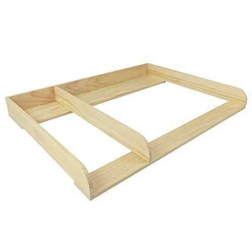 Puckdaddy Wickelaufsatz Pelle – 108x80x10 cm, Wickelauflage aus Holz in Natur, hochwertiger Wickeltischaufsatz mit Trennfach passend für IKEA Hemnes Kommoden, inkl. Wandbefestigung