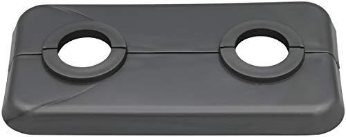 10 Stück Doppel-Rosette für Heizungsrohre in Weißaluminium (RAL 9006), Abdeckung für Heizungsrohre, Heizung, 2-teilig, 15mm, 16mm, 18mm, 21,3mm Polypropylen in Sonderfarben (15mm, RAL 9006)