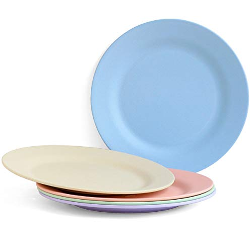 BUBERO Unbreakable Dinner Plates 11 Inch Biodegradable Wheat Straw Dinnerware Sets Reusable Eco Friendly Plates Set of 5 BPA Free Microwave Dishwasher Safe